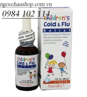 Siro trị cảm cúm Cold & Flu NatraBio 30ml-Mỹ