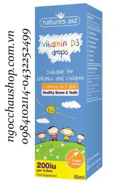 Natures Aid Vitamin D3 drops Giúp xương, răng và cơ thể khỏe mạnh