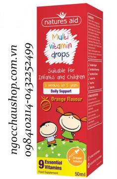Vitamin tổng hợp Multi Vitamin Drop Natures Aid cho bé từ 3 tháng - 5 tuổi